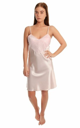 Satin & Lace Knee Length Nightdress in Pink by BB Lingerie