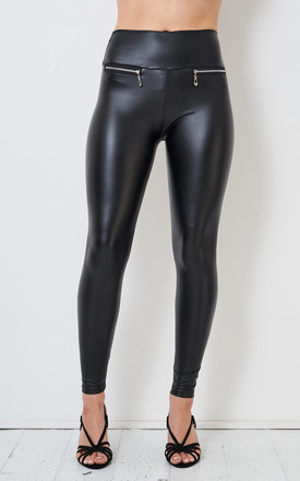 Portia Black Faux Leather Leggings with Zip High Waist by love frontrow
