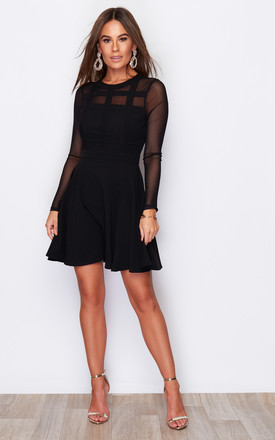 Ria Mesh Panelling High Neck Mini Skater Dress Black by Girl In Mind