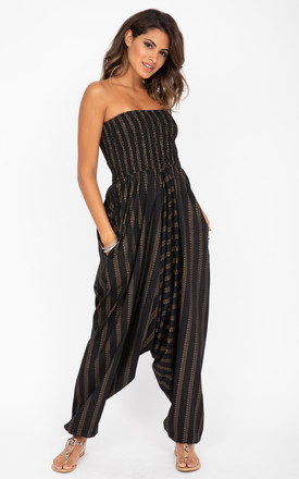 2 In 1 Cotton Harem Pants & Bandeau Jumpsuit In Black And Gold Stripes Print by likemary Product photo