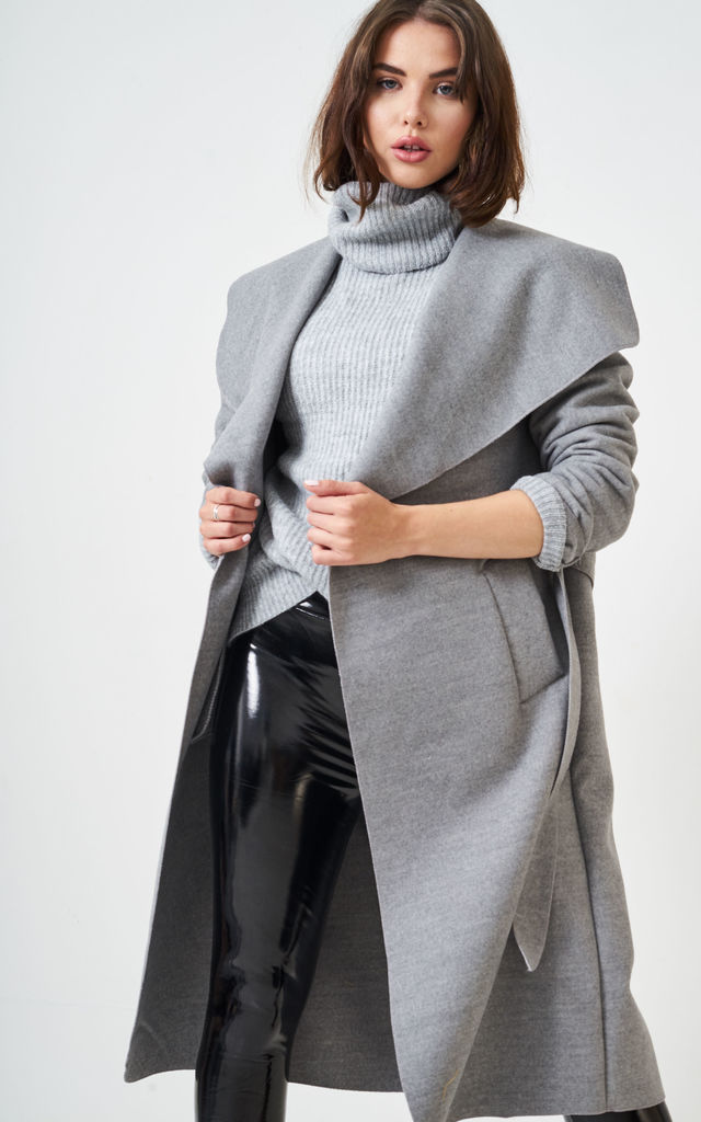 Naomi Waterfall Shawl Collar Coat In Grey by love frontrow