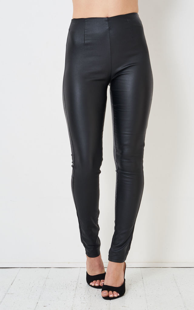 Nina High Waisted Wax Coated Slim Leggings in Black by love frontrow