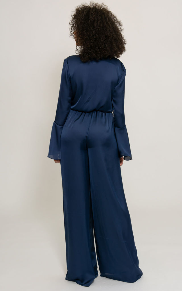 Maddox Flare Sleeve Wide Leg Jumpsuit in Navy Satin by SHE BY SOPHIE