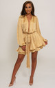 Madison Silky Long Sleeve Wrap Dress in Gold by SHE BY SOPHIE