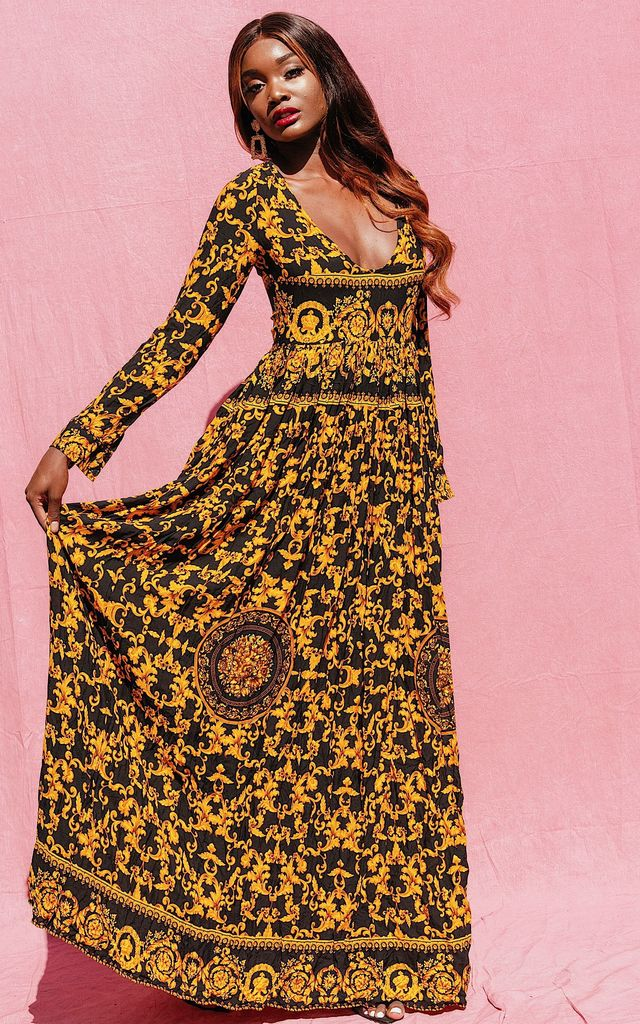 JANICE LONG SLEEVE MAXI DRESS IN YELLOW PRINT by IVY EKONG FASHION