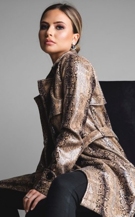 'Boa' Trench Coat in Faux Snake Skin by Storm Label