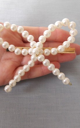 Hair Clip with Pearl Bow by Olivia Divine Jewellery