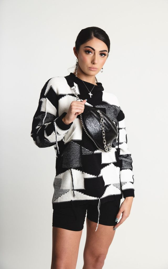 'Roka' Jumper in Black and White Arrow Print by Storm Label