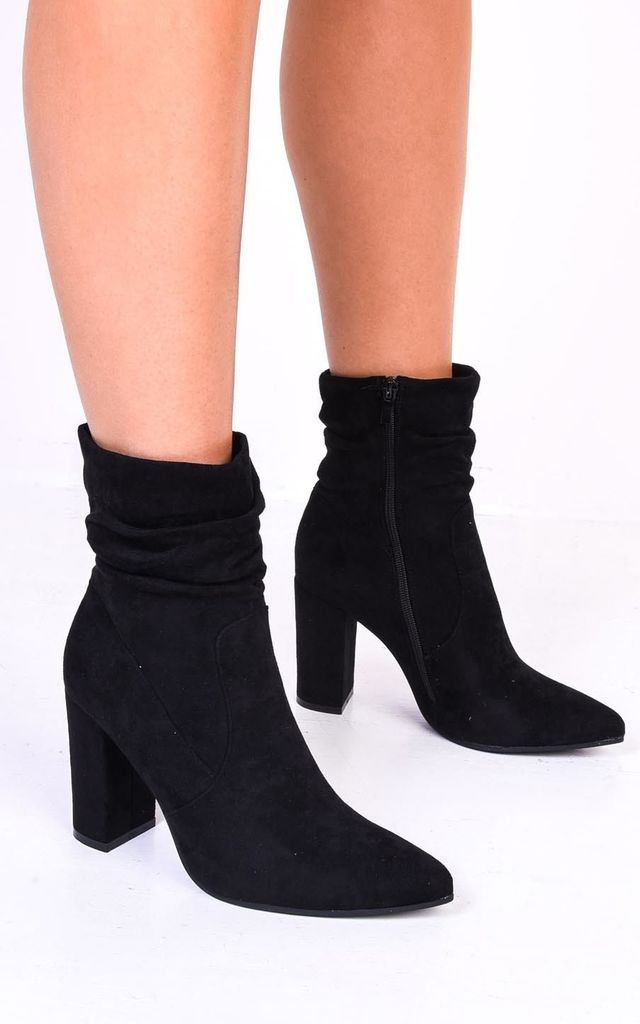 Ruched block heel pointed suede ankle boots black by LILY LULU FASHION