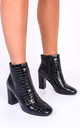 Zip black patent croc ankle boots with round toes by LILY LULU FASHION