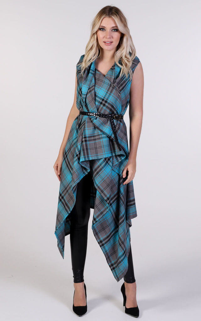 Drape Waterfall Waistcoat in Turquoise Tartan by Blonde And Wise