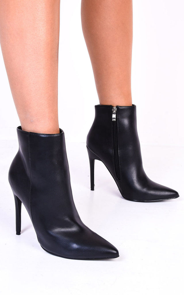 Black faux leather pointed ankle boots with stiletto heel by LILY LULU FASHION