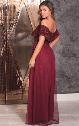 KENDALL BARDOT SEQUIN MAXI DRESS IN BERRY RED by Sistaglam