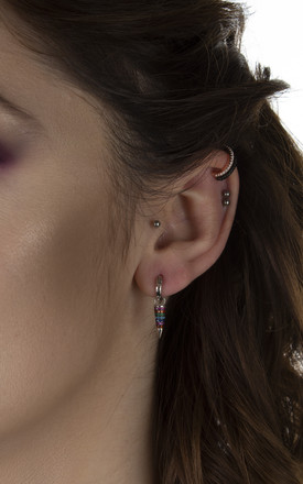 Cubic zirconia multi stone cone drop huggie hoops by EPITOME JEWELLERY
