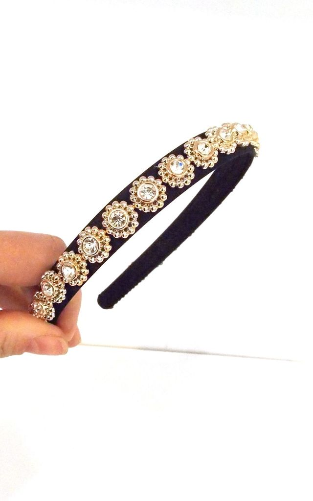 Black and Gold Mini Jewelled Hairband by Olivia Divine Jewellery