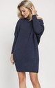 Cold Shoulder Jumper Dress in Navy by MKM Knitwear Design