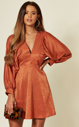 Rust Jacquard Satin Batwing Long Sleeve Dress by Love Product photo