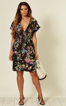 Floral Wrap Front Mini Dress in Black by Shikha London