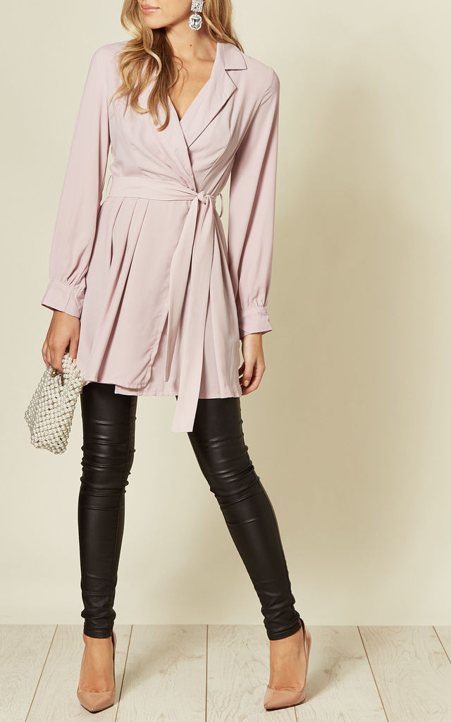 Long Sleeve Skater Wrap Mini Dress In Pink by Oeuvre