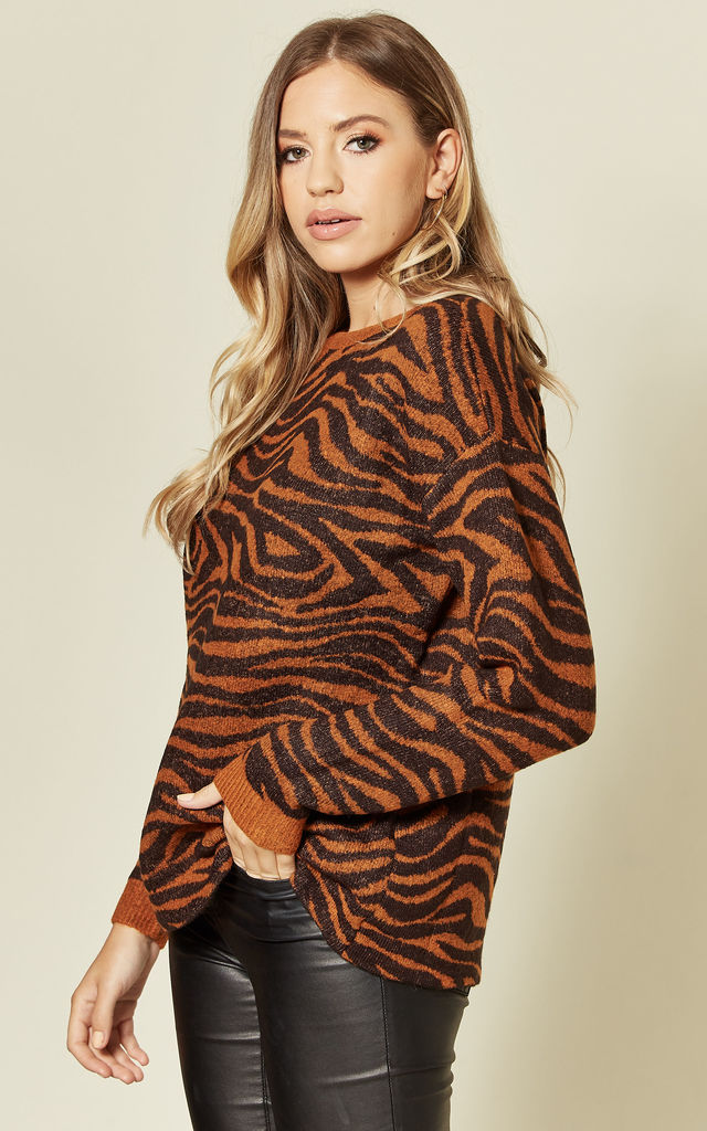 Livvy Chunky Knit Jumper in Black/Brown Big Cat Tiger Print by SUGARHILL BRIGHTON