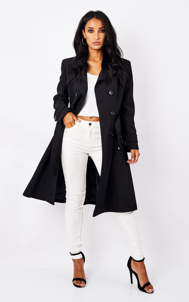Vienna Black Double Breasted Trench Mac by De La Creme Fashions