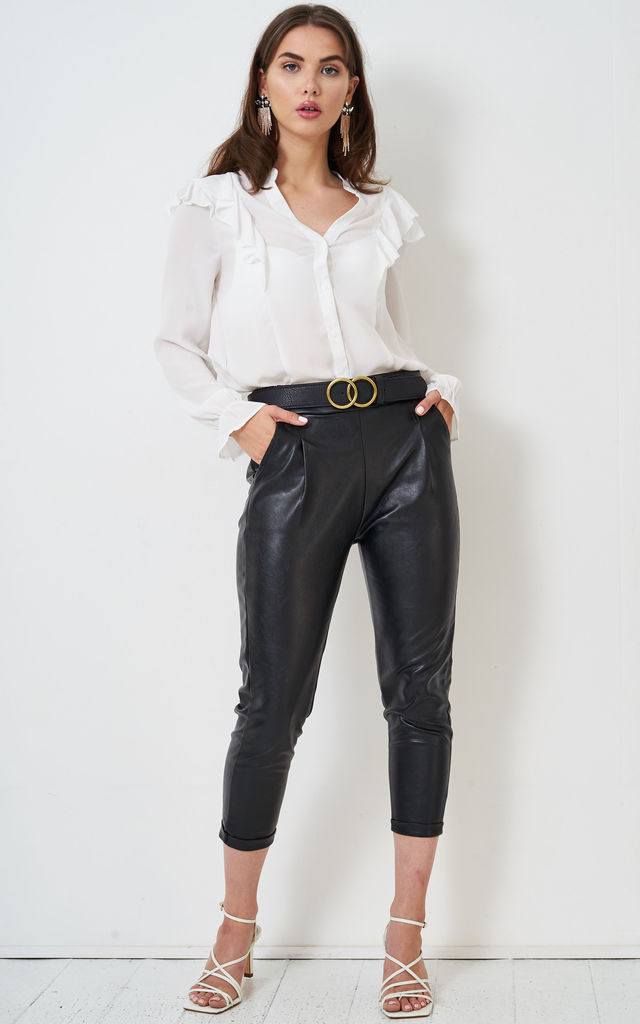 Ember Straight Leg Cropped Trousers in Black Faux Leather by love frontrow