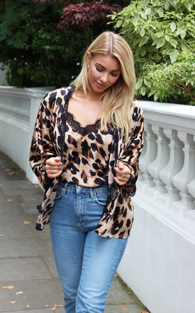BAZAAR Kimono Jacket in Chocolate Animal Print by Libby Loves