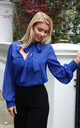 Lola Sheer Blouse with Tie Neck in Blue by Libby Loves