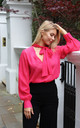 Lola Sheer Blouse with Tie Neck in Raspberry Pink by Libby Loves