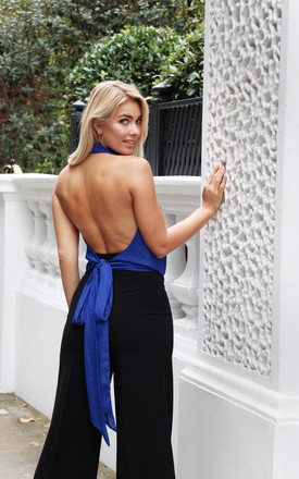 Backless halter neck top Noa in Cobalt Blue by Libby Loves