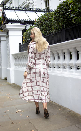 Duffy Long Sleeve Midi Dress in Vanilla Chain Print by Libby Loves