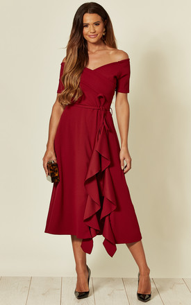 Exclusive Bardot Off Shoulder Frill Midi Dress In Burgundy by Feverfish Product photo