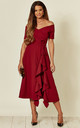 Exclusive Bardot Off Shoulder Frill Midi Dress in Burgundy by Feverfish