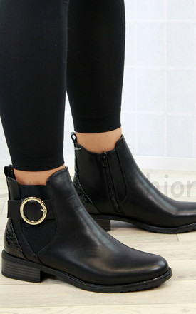 Black Buckle Back Panel Ankle Boots by Larena Fashion