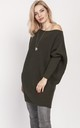 Cold Shoulder Jumper Dress in Khaki by MKM Knitwear Design