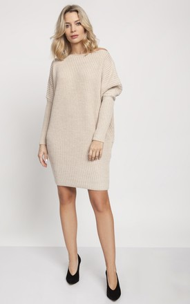 Cold Shoulder Jumper Dress in Beige by MKM Knitwear Design