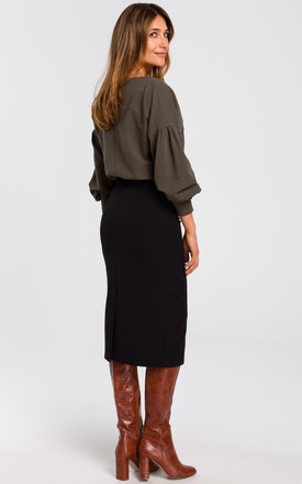 Midi Pencil Skirt with Yoke in Black by MOE