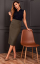 Midi Pencil Skirt with Yoke in Khaki by MOE