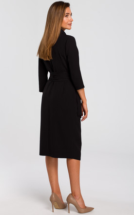 Wrap Midi Dress with Waist Tie in Black by MOE