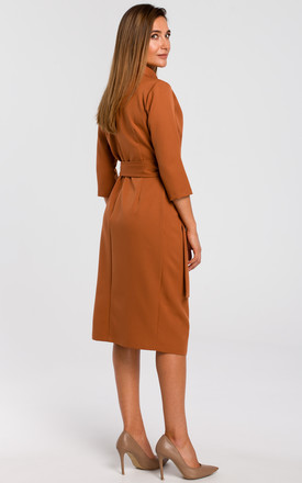 Wrap Midi Dress with Waist Tie in Ginger Brown by MOE