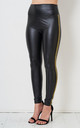 Aylin Black High Waisted Faux Leather Leggings with Gold Stripe by love frontrow