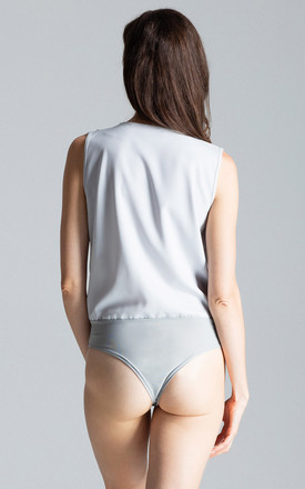 Sleeveless Faux Wrap Bodysuit in Grey by FIGL