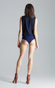 Sleeveless Faux Wrap Bodysuit in Navy by FIGL