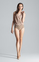 Sleeveless Faux Wrap Bodysuit in Beige by FIGL