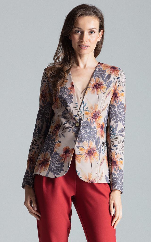 Collarless Blazer with Single Button in Multi Floral Print by FIGL