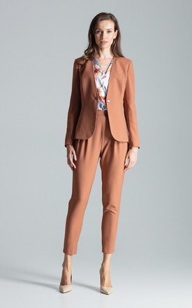 Collarless Blazer with Single Button in Brown by FIGL