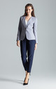 Collarless Blazer with Single Button in Grey by FIGL