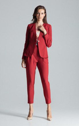 Collarless Blazer with Single Button in Deep Red by FIGL