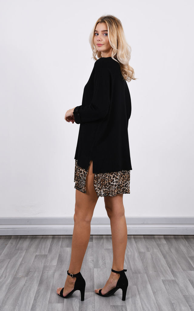 Black Jumper Dress with Leopard Print Fringe by Lucy Sparks