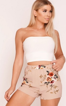 High Waisted Shorts in Taupe Floral Print by Hachu